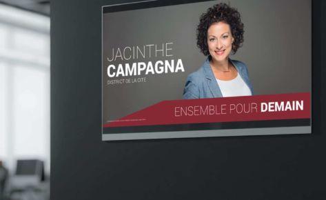 Pancarte et flyer pour Mme Jacinthe Campagna